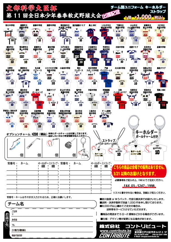 全日本少年春季軟式野球大会 チーム別ユニフォーム